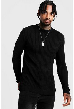 Black Muscle Fit Long Sleeve Ribbed Crew Neck Jumper
