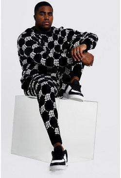 Black Big & Tall Gothic M Knitted Jumper & Jogger Set