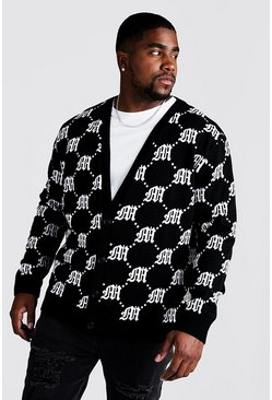 Black Big & Tall Gothic M All Over Knitted Cardigan