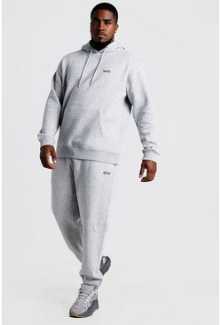 Grey marl Plus Size MAN Dash Hooded Tracksuit