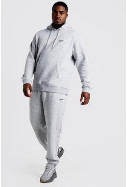Grey marl Plus Size MAN Dash Hooded Tracksuit