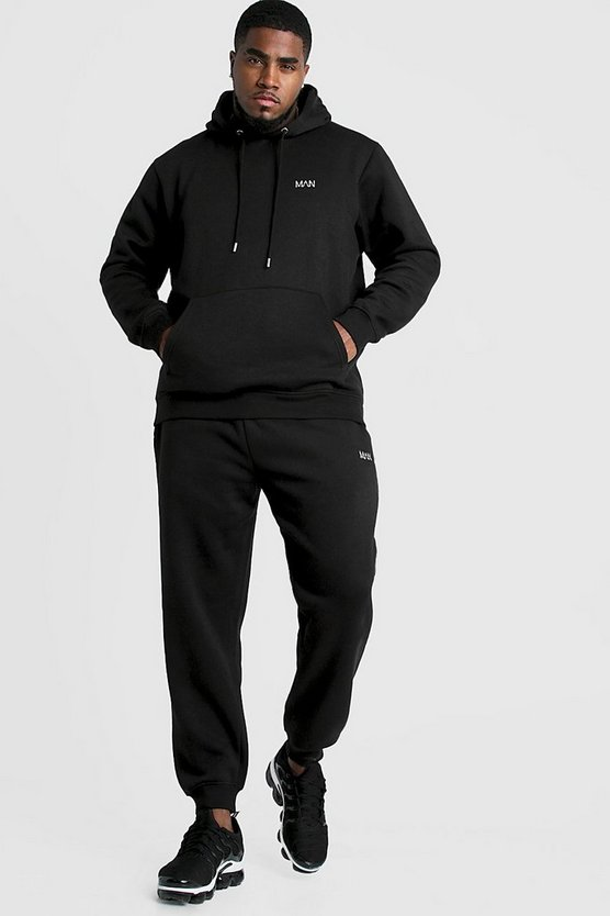 Mens Black Big & Tall MAN Embroidered Tracksuit