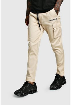 Mens Stone MAN Official Print Cargo Trousers