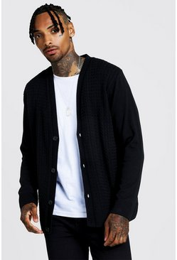Mens Black Loose Fit Cable Knitted Cardigan