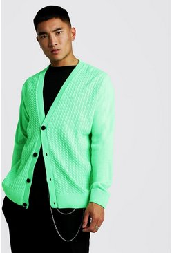 Mens Neon-green Loose Fit Cable Knitted Cardigan