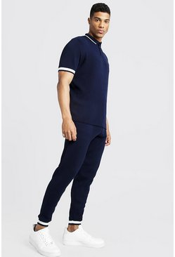 Mens Navy Regular Fit Knitted Polo & Jogger Set