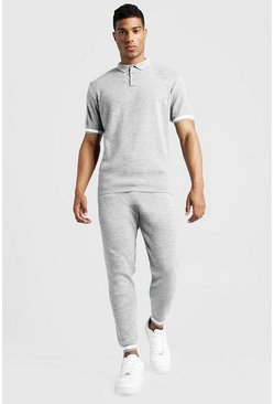 Mens Light grey Regular Fit Knitted Polo & Jogger Set