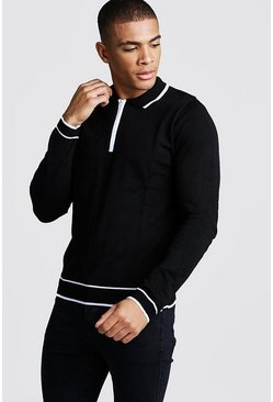 Mens Black Regular Fit Long Sleeve Polo With Half Zip