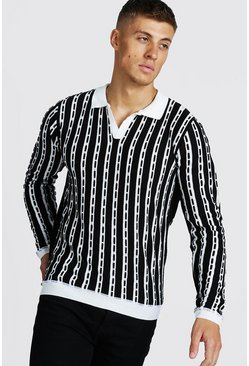 Mens Black Regular Fit Long Sleeve Collar Knitted Polo