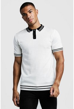 Mens Cream Muscle Fit Short Sleeve Knitted Polo