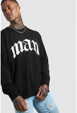Mens Black Oversized Gothic MAN Knitted Jumper