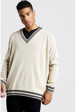 Mens Camel Oversized V Neck Tennis Raglan Jumper