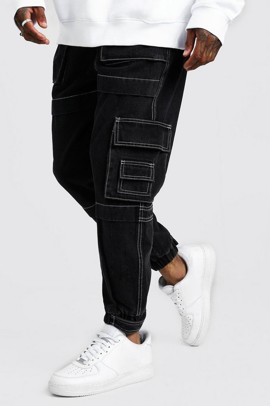 Mens Washed black Denim Cargo Joggers With Utility Pockets