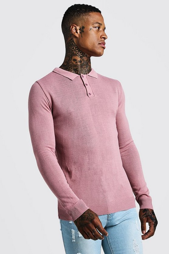 Rose Regular Fit Long Sleeve Knitted Polo