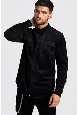 Mens Black Zip Through Cord Shirt