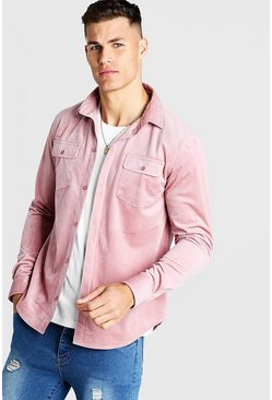 Mens Pink Long Sleeve Cord Shirt