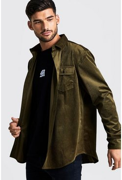Mens Khaki Oversized Long Sleeve Cord Shirt