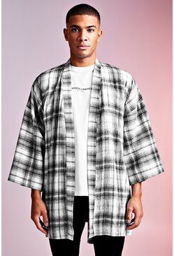 Mens Grey MAN Design 3/4 Sleeve Check Belted Kimono