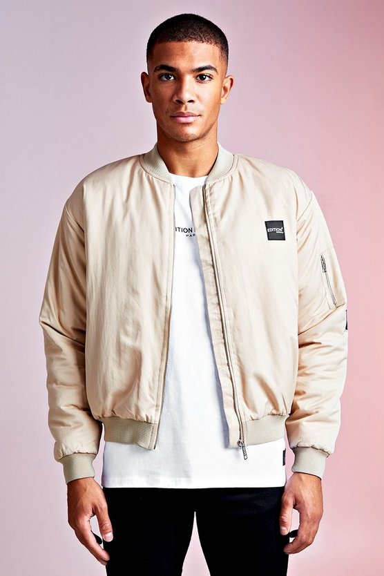 Sand MAN Design Bomber With PU Branded Tab