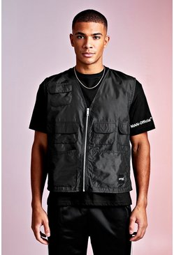 Mens Black MAN Design Loose Fit Tee With Utility Vest