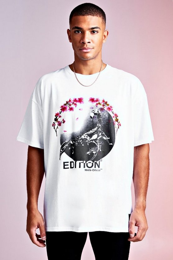 Mens White MAN Design Oversized Blossom Print Detail Longline Tee