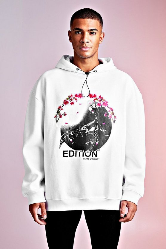 Mens White MAN Design Oversized Blossom Print Detail Hoodie