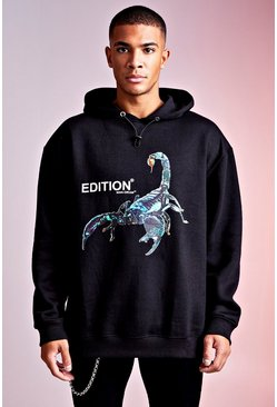 Black MAN Design Hoodie With Front & Back Print Detail