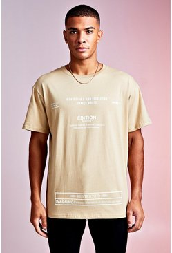 Mens Sand MAN Design Loose Fit With Multi Text Edition Print