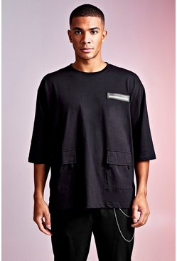 Mens Black MAN Design Oversized 3/4 Sleeve Utility Tee