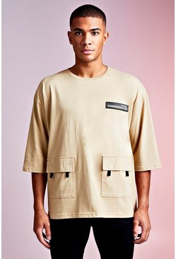 Mens Sand MAN Design Oversized 3/4 Sleeve Utility Tee
