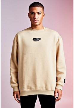 Mens Sand MAN Design Oversized Sweat With Woven Tab