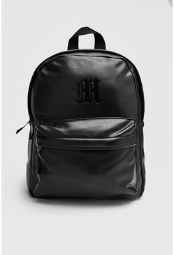 Mens Black MAN Emboss PU Backpack