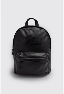 Mens Black MAN Script Emboss PU Backpack