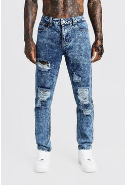 Mens Blue Fit Rigid Distressed Denim Jeans