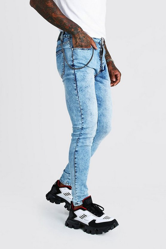 Mens Washed blue Super Skinny Fit Jeans With Chain