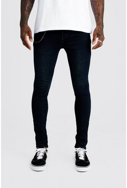 Washed indigo Super Skinny Fit Jeans With Chain