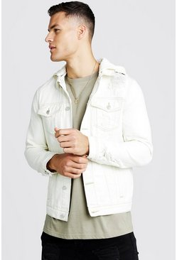 Mens Ecru Distressed Denim Jacket With Removable Hood