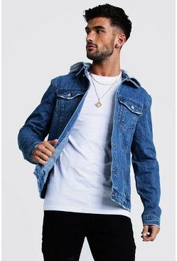 Mens Mid blue Denim Jacket With Removable Hood