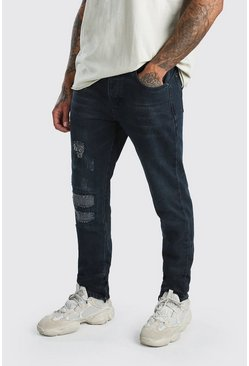 Indigo Worn Skinny Jeans With Ankle Zips