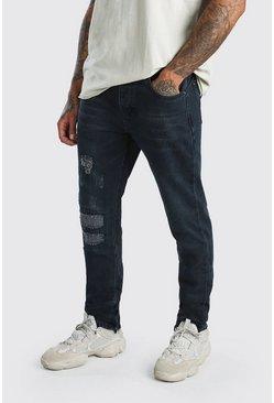 Indigo Worn Skinny Jeans With Ankle Zips