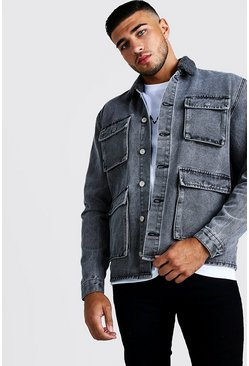 Mens Light grey 4 Pocket Denim Jacket With Borg Collar