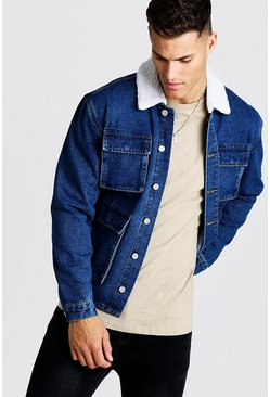 Mens Blue 4 Pocket Denim Jacket With Borg Collar