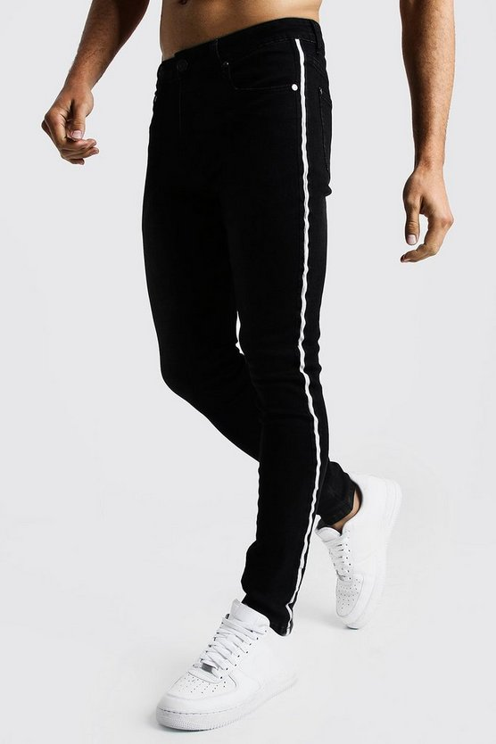 Mens Black Super Skinny Jeans With Side Tape