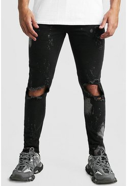 Mens Washed black Skinny Bleached Distressed Jeans