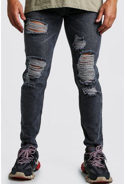 Mid grey Slim Fit Rigid Distressed Denim Jeans
