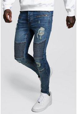 Blue Spray On Skinny Biker Jeans With Zips