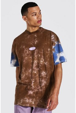 Brown Tall Oversized Worldwide Tie Dye T-shirt