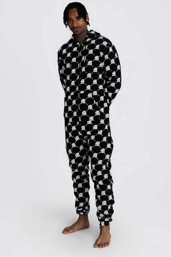 Black M Repeat Printed Onesie