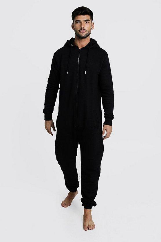 zip-through-hooded-onesie by boohooman