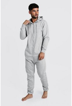 Grey Zip Through Hooded Onesie